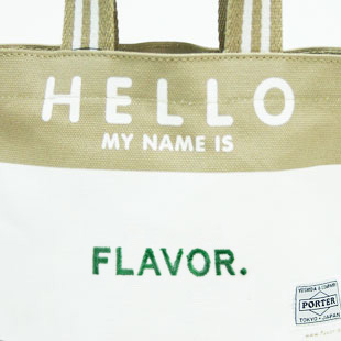 吉田カバンのPORTER ポーターとFLAVOR フレーバーコラボのhello tote bags ハロートートバッグス用 名前刺繍オーダー[単色]